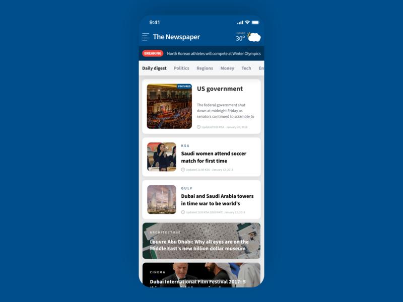 Newspaper App Home Screen Design app simple minimal clean newspapers content breaking cards journalism topics articles feed news newspaper