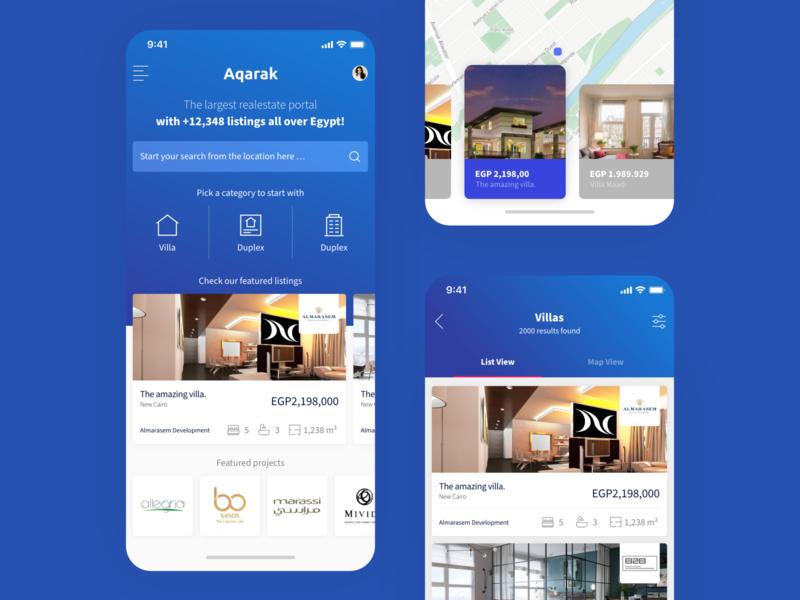 Aqarak PropTech Real-estate Listing App Home Screen Design cards app design concept home listing blue property real estate estate realestate proptech