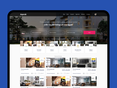 Aqarak PropTech Real-estate Listing Web Home Screen Design explore simple minimal clean real estate agent find filter search concept web app home listing proptech property real estate