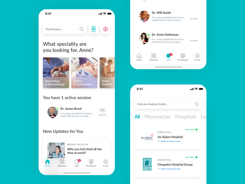 CDoc Health Tech App Home, Directory and Chat Design explore concept ui app search doctor app design minimal simple clean navigation dashboard card list home health app healthcare health tech healthtech