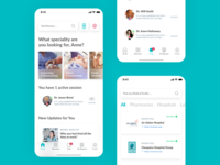 CDoc Health Tech App Home, Directory and Chat Design