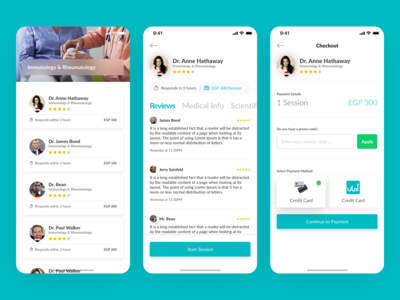 CDoc Health Tech App List, Doctor Details and Payment Screens payment form telemedicine doctor app payment method payment app healthcare health tech category cards information reviews payments credit card details doctor list payment