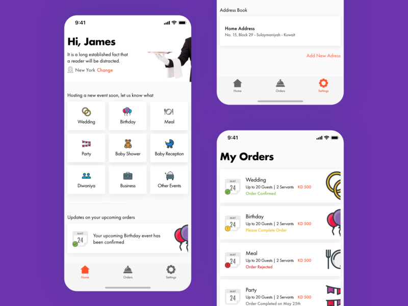 Lina Caters, Catering, Delivery Service & Food Ordering Screens simple minimal clean card delivery service location ui app design app concept explore home settings ecommerce list catering delivery food order