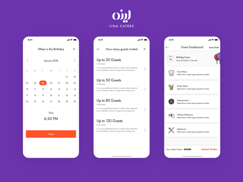 Lina Caters, Catering, Delivery Service & Food Ordering Screens ui app simple minimal clean orders ordering order management cart guests calendar service catering list food order