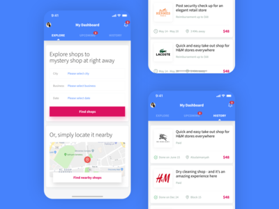 """Quality Patrol """"Mystery Shopping"""" App Screens concept ui app simple minimal clean shopping cart shops stores shop ecommerce location map find explore shopping mystery shopping"""