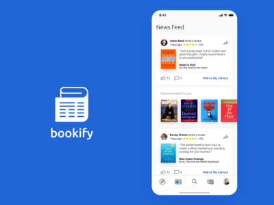 Bookify Bookstore App Newsfeed Screen