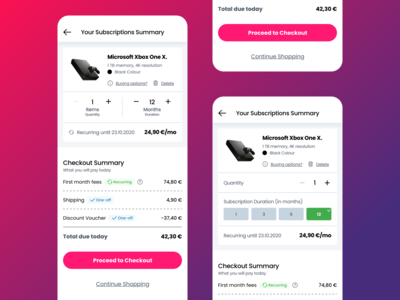 Payment Summary Screen Options for Electronics Rental Website e-shop ecommerce design ecommerce quantity list product card rental app check out pay renting rentals rental summary checkout payment recurring e-commerce commerce rent