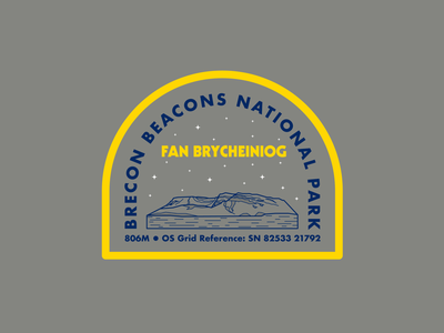 Fan Brycheiniog logo brecon beacons national park wales the great outdoors outdoors adventure hike mountains mountain drawing draw icon illustrate illustration identity brand badge design graphic design logo