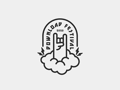Download Festival logo concept heavy metal music download festival drawing draw icon illustrate illustration identity brand badge design graphic design logo