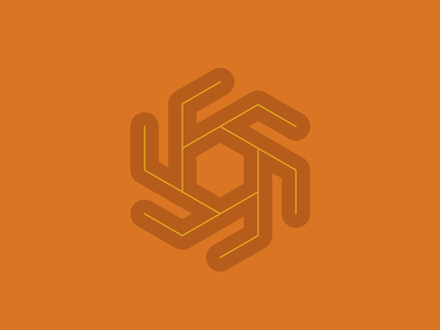 Sun logo symbol hexagon shape sun drawing draw icon illustrate illustration identity brand badge design graphic design logo