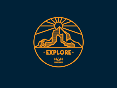Explore logo sun mountains climb hike outdoors adventure explore drawing draw icon illustrate illustration identity brand badge design graphic design logo