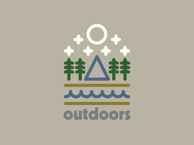 Outdoors logo stars moon trees forest river mountains adventure explore outdoors drawing draw icon illustrate illustration identity brand badge design graphic design logo