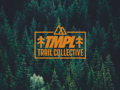 TMPL Trail Collective logo outdoors forest trees mountains trail running hike trail drawing draw icon illustrate illustration identity brand badge design graphic design logo
