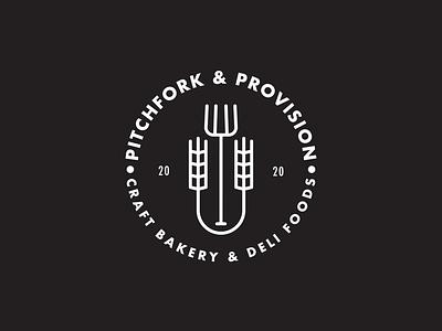 Pitchfork &Provision logo local business bakery drawing draw icon illustrate illustration identity brand badge design graphic design logo