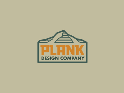 Plank Design Company badge mountains drawing draw icon illustrate illustration identity brand badge design graphic design logo
