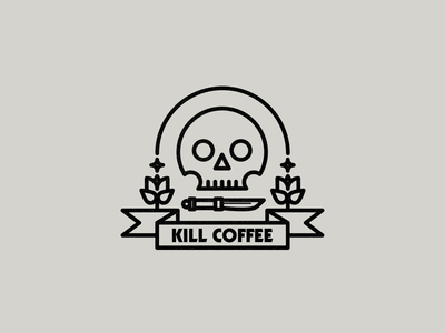 Kill Coffee logo skull coffee logo coffee drawing draw icon illustrate illustration identity brand badge design graphic design logo