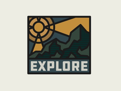 Explore badge sun wildlife nature adventure explore outdoors moutains mountain icon brand drawing draw badge logo identity illustration illustrate graphic design design