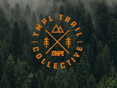 TMPL Trail Collective badge hiker trail running runner explore trails trail mountains mountain icon brand drawing draw badge logo identity illustration illustrate graphic design design