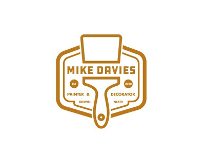 Mike Davies Painter & Decorator logo paint brush vector local business icon brand drawing draw badge logo identity illustration illustrate graphic design design