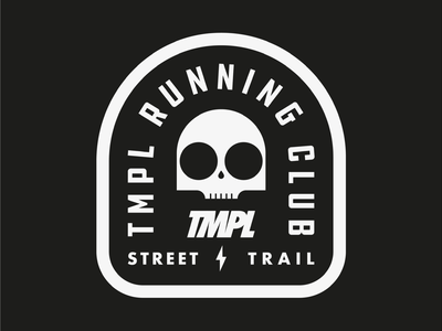 TMPL Running Club badge skull outdoors fitness exercise running club running tmpl drawing draw icon illustrate llustration identity brand badge design graphic design logo