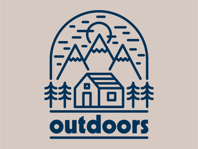Mountain Cabin trees nature adventure explore outdoors forest woods cabin mountains drawing draw icon illustrate llustration identity brand badge design graphic design logo