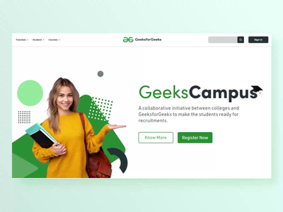 Geeks Campus Landing Page Design campus college abstract minimal animation microinteraction web webdesign interaction ux ui