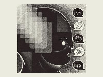 PostLife 01 dark futuristic future robot ai conversation chat person illustration procreate digital art utopia digital dystopia