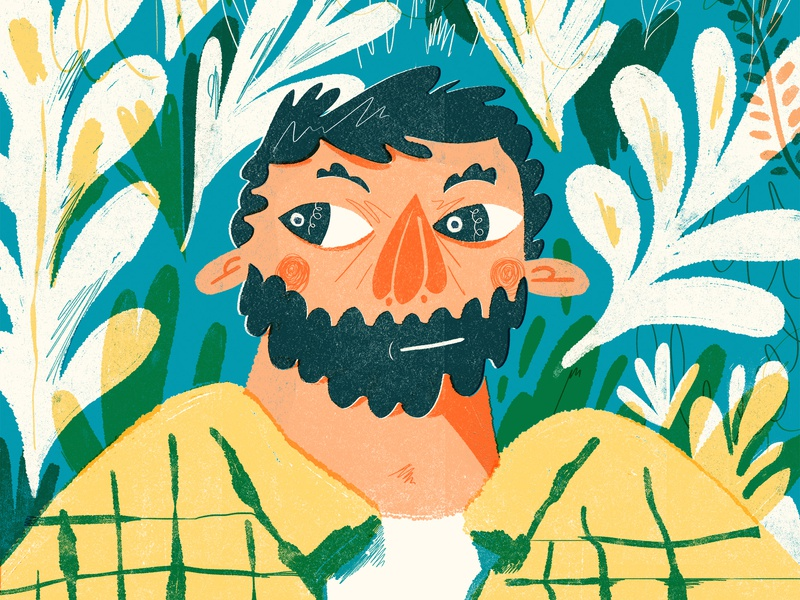 Hello again 👋 forest plants face man illustration portrait illustration portrait