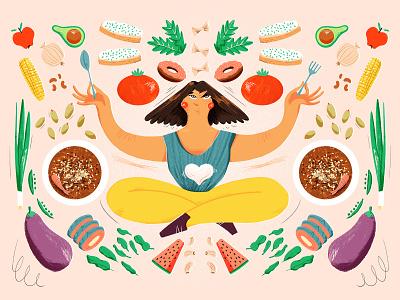Nutrition Cuisine nutrition health plants fruit editorial art editorial illustration eating vegetables cuisine food illustration