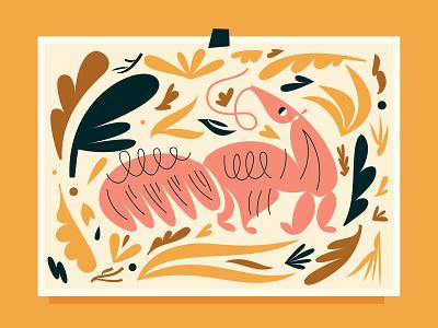 Giant Anteater south america print vector design animal abstract digital art plants illustration mammal anteater