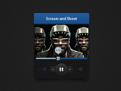 Dark Music Widget blue dark music widget ui button slider icon ux interface user