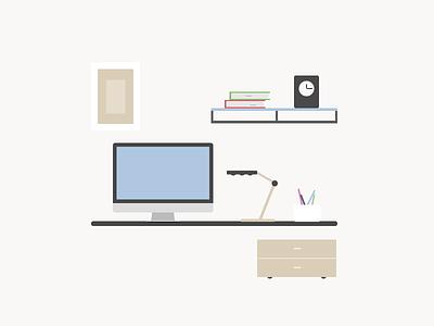 Workspace illustration workspace flat simple icon wallpaper design minimal modern