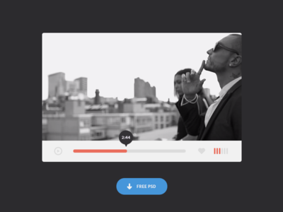 Video Player video player ui simple clean minimal white red blue button free download