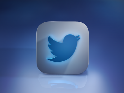 Twitter Icon logo twitter icon realistic color blue sky white mockup long shadow ios 7