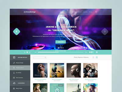 Music Template music template theme modern flat simple clean transparent blue green white concept