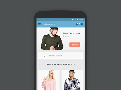 eCommerce Concept - 12 App Screen concept retina orange blue clean simple free psd android app ecommerce material design