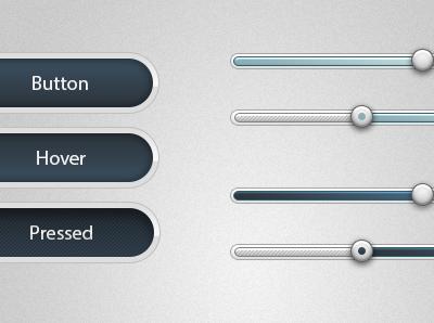 Soft Buttons and Sliders - PSD Download. free psd download ui kit blue dark button slider design