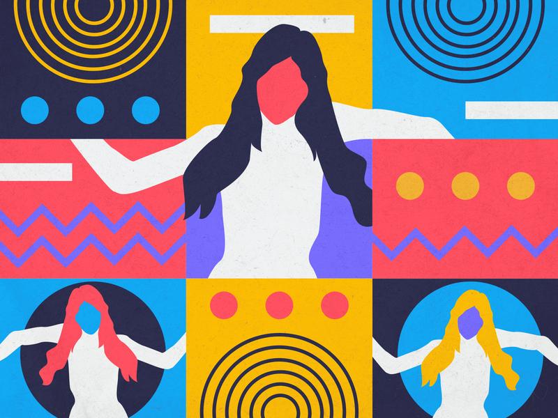Dancing in shapes geometric illustration shapes shape elements georgia illustration vector illustrator