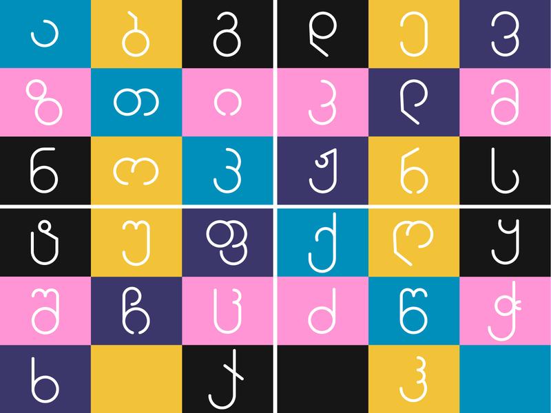 Georgian Minimalist Font Design - Sphere dribbble tbilisi alphabet typeface type minimalist letter typogaphy font design font design vector georgia