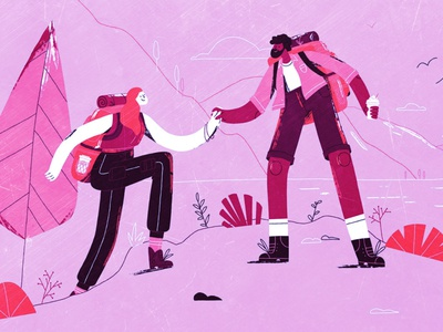 Hiking Adventure love couple couplegoals tbilisi adventure hike dribbble design illustrator illustration graphic design georgia vector