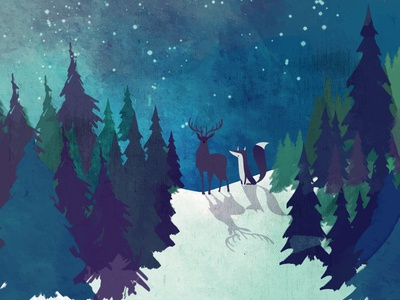 Winter Fox & Deer spruces winter fox deer illustraion