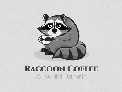 Raccoon Coffee rennes cafe coffee animal raccoon brand design vector illustration logodesign logo