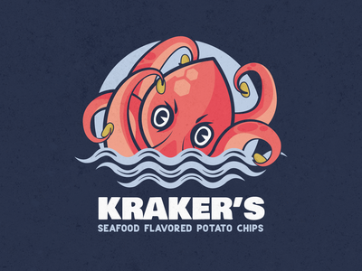 Kraker's rennes kraken octopus animal chips brand design illustration logodesign logo