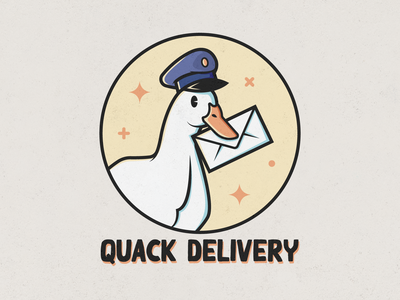 Quack Delivery rennes mail brand design animal vector delivery illustration duck logo design logo