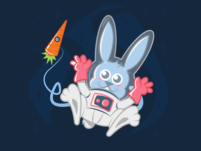 Space Rabbit rennes character design character carrot cosmonaut astronaut spaceship space rabbit graphic design vector animal illustration