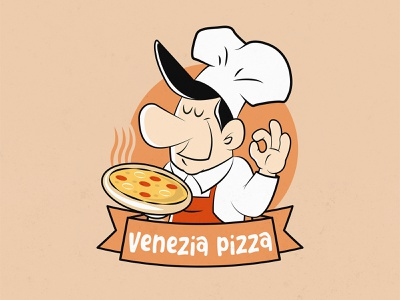 Venezia Pizza rennes pizza logo pizza logo design character design vector logo brand design graphic design illustration