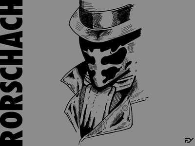 Rorschach Illustration line superhero hero character comicbook comic watchmen flat drawing minimal illustration design