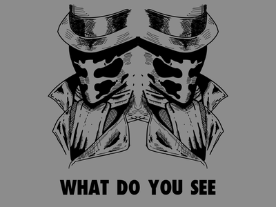 Rorschach Illustration V2 superhero watchmen line hero comicbook comic character drawing minimal illustration flat design
