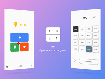 1881 - Puzzle Game [Open Source] material software open source interaction github google play interface application android app ux ui app design design minimal flat