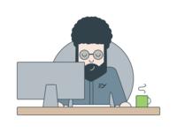Developer Illustration minimal developer flat logo design illustration